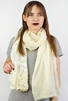 Кремовый шарф с легким кружевом