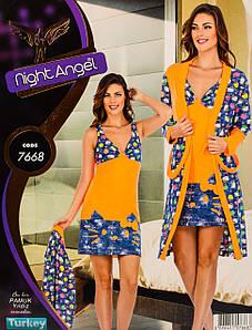 Женский комплект с халатом 2 в 1 Турция. Night Angel 7668. Размер 44-46.