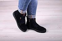 Ботинки женские из натуральной замши синего цвета