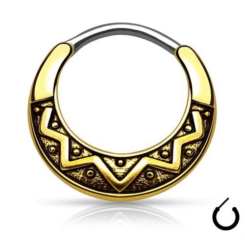 Септум пірсинг сережка титанова кільце з орнаментом з покриттям