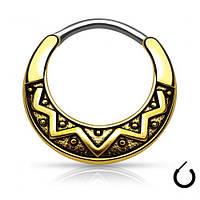 Септум пирсинг серьга титановая кольцо с орнаментом с покрытием