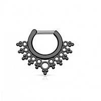 Септум пирсинг серьга титановая с ажурным узором черная