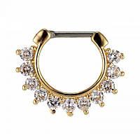 Пирсинг соска титановое кольцо со Swarovski с покрытием
