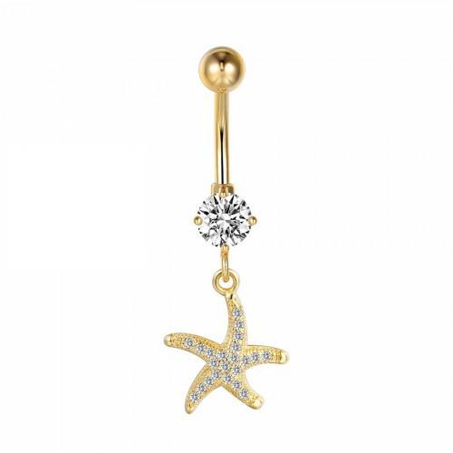 Сережка в пупок Морська зірка з позолотою