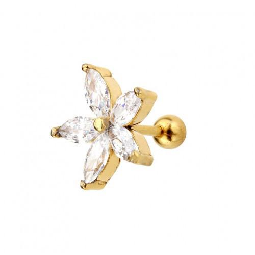 Серьга в хрящ цветок 10 мм с кристаллами с покрытием