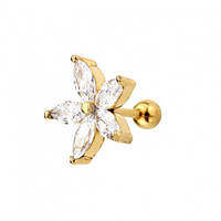 Сережка у хрящ квітка 10 мм з кристалами з покриттям