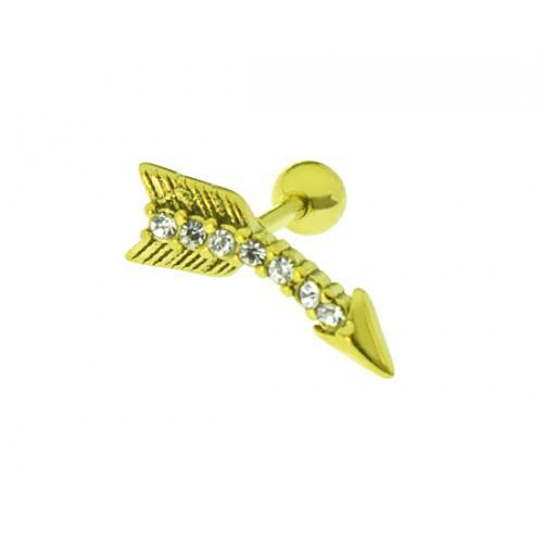 Серьга в хрящик стрела с фианитами