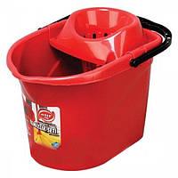 Красное ведро МОП для швабры с отжимом Elif plastik 380-2LF