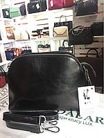 Женская черная кожаная сумка кросс-боди