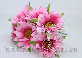 Букетик розовых маргариток, 4,5см. 6 цветков в наборе
