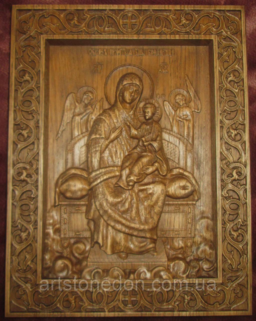 Икона резная  Богородицы Всецарица (Пантанасса)