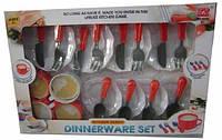 Посуда игрушечная столовые приборы 24 предмета: чашки, блюдца, тарелки, ложки, вилки, ножи 6006N