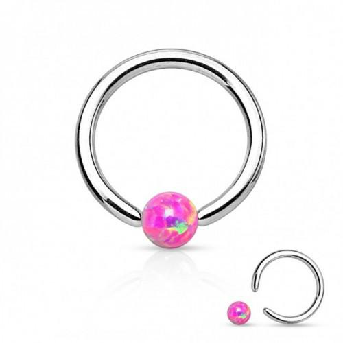 Пірсинг кільця титанові з опалом рожевим