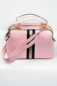 Сумка саквояж с цветной полоской розовый