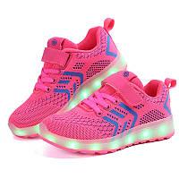 Pink kids step, Розовые светящиеся кроссовки LED (USB подзарядка), размер 25-35 (LK 1014)