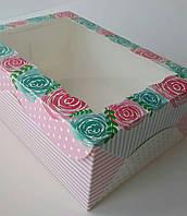 Коробка для капкейков 9 см, 6 шт., С окном, 17см х 25см х 9см, Роза