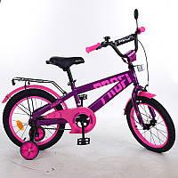 Детский двухколесный велосипед PROFI 16 дюймов для девочки фиолетово - розовый, T16174 Flash