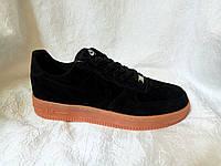 Мужские кроссовки Nike Air Force suede черные, фото 1
