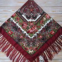 Женский платок цвета бордо (120х120см, 80%-шерсть)  , фото 1