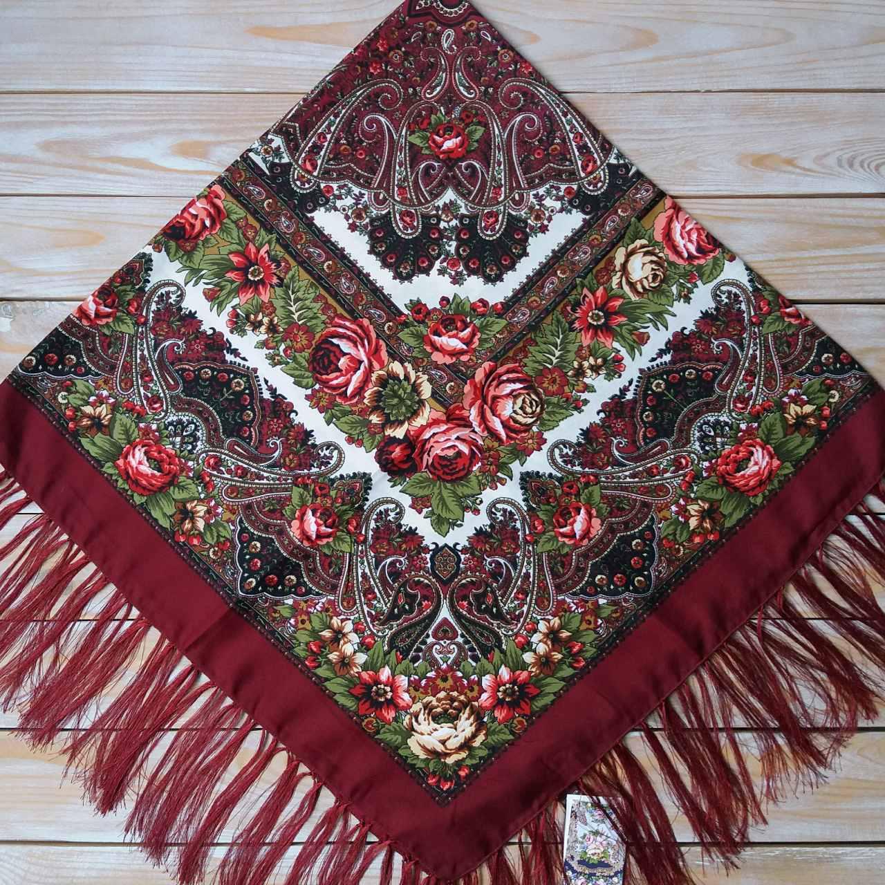 Женский платок цвета бордо (120х120см, 80%-шерсть)
