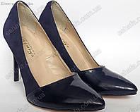 Женскиe замшевые туфли лодочки с острым лаковым носком, каблук 9см Синие, фото 1