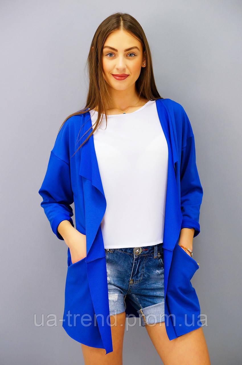 Модный кардиган на лето больших размеров синего цвета