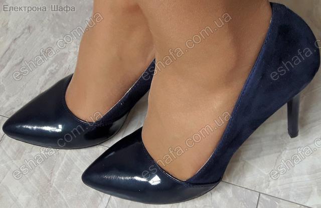 замшевые лодочки синего цвета с острым носком