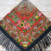 Женский платок черного цвета (120х120см, 80%-шерсть)  , фото 1