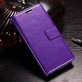 Чехол книжка для Huawei Honor 9 Lite боковой с отсеком для визиток BTRCASE, Гладкая кожа, фиолетовый