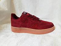 Мужские кроссовки Nike Air Force suede бордовые, фото 1