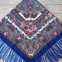 Женский платок синего цвета (120х120см, 80%-шерсть)