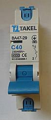 Автоматический выключатель (автомат) TAKEL 1 полюс тип С