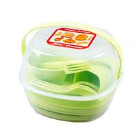 Набор туристической посуды GreenCamp, пластик, 54 предмета, салатовый, фото 1