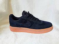Мужские кроссовки Nike Air Force suede темно синие, фото 1