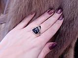 Красивое кольцо ониксовый агат в серебре. Кольцо с ониксом 17,5 размер Индия, фото 3