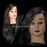 Учебная голова манекен для плетения 30% натуральных волос, длина 70 см, цвет черный