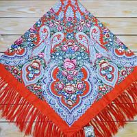 Женский платок красного цвета (120х120см, 80%-шерсть)