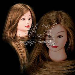 Учебная голова манекен для плетения 30% натуральных волос, длина 65 см, цвет пшеничный