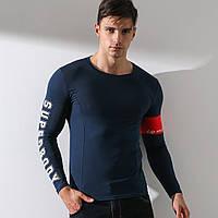 Модный мужской лонгслив SuperBody - №2763, Цвет синий, Размер M