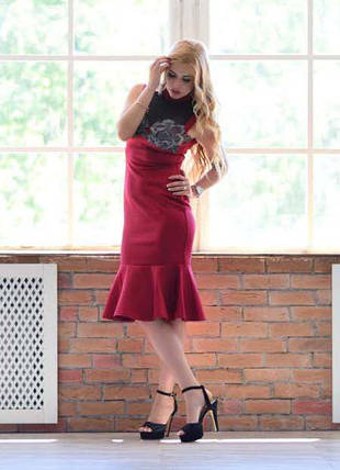 """Облегающее нарядное миди-платье """"Veronica"""" с кружевом и сеткой (большие размеры), фото 2"""