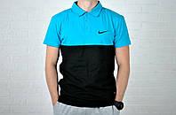 Мужское Поло Nike черно-голубого цвета