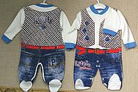 """Детский  человечек """" Жилет и джинсы  """" из интерлока  для мальчиков до 3 мес"""