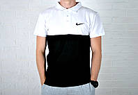 Мужское Поло Nike черно-белого цвета