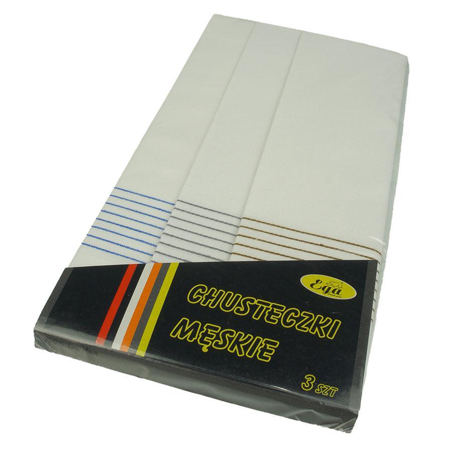 Набір світлих носових хусток для чоловіків Ega 3 шт 0105С