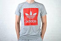 Мужская футболка Adidas серая с красным рисунком