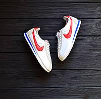 Мужские кроссовки Cortez бело-серые с красным лого