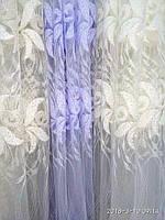 Тюль с вышивкой  на фатине с люрексовой ниткой. Оптом.Высота 2.8 м. Три цвета в наличии., фото 1