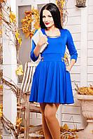 Молодежное женское платье с юбкой солнце и рукавом три четверти цвет электрик