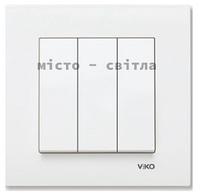 Выключатель 3-клавишный, белый, Viko Karre Карэ