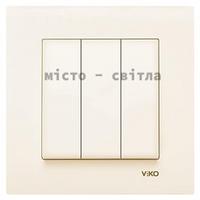 Выключатель 3-клавишный, крем, Viko Karre Карэ